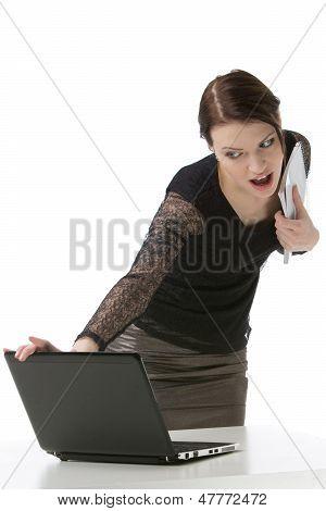 Businesswoman Reading Something On Her Laptop