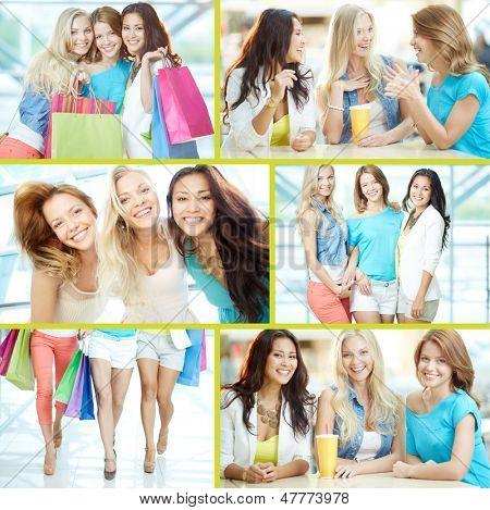 Colagem de três meninas felizes em smart casual depois das compras