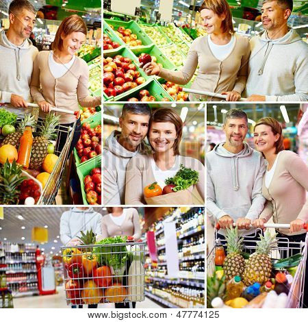 Collage of happy couple with cart choosing products in supermarket