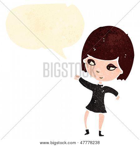 retro cartoon goth girl with speech bubble