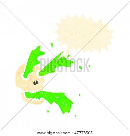 retro cartoon gross slime spurting skull