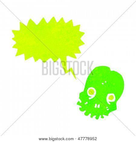 retro cartoon shrieking green skull