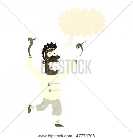 retro cartoon crazy madman with straight jacket
