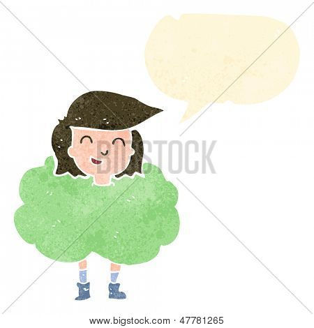 retro cartoon girl surrounded by smell cloud