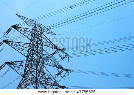 Powerline under blue sky
