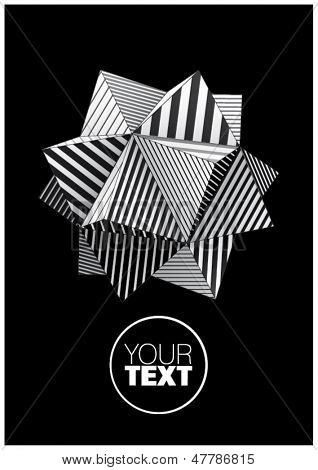Polyhedron with black and white striped faces for poster design