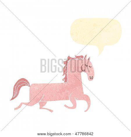 pretty prancing horse retro cartoon