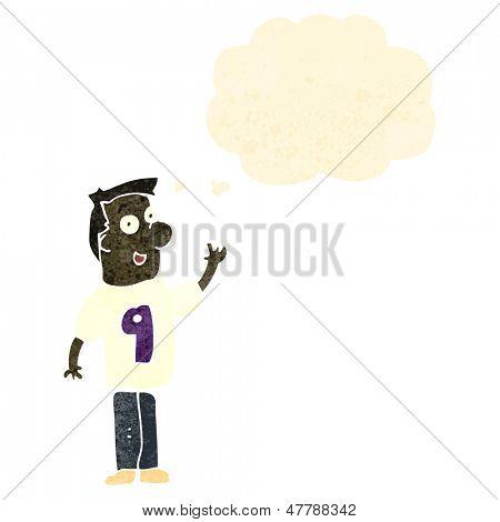retro cartoon man wearing shirt with number,nine