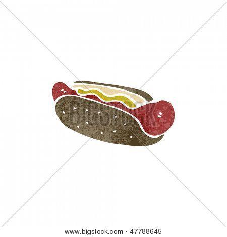 retro cartoon hotdog