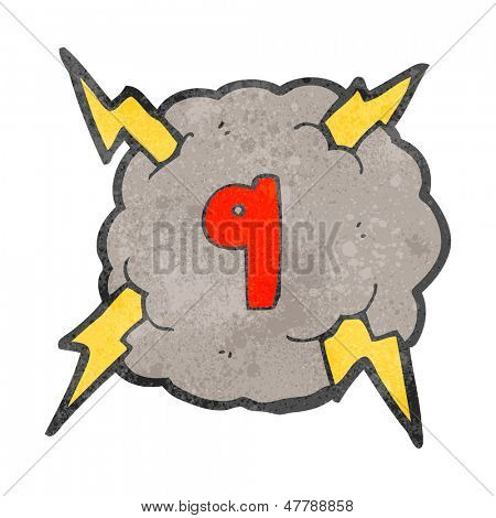 retro cartoon storm cloud with number nine