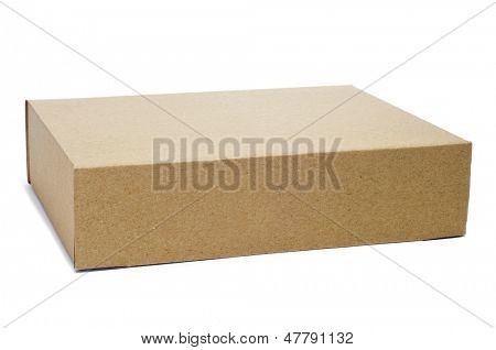 a brown cardboard box on a white background