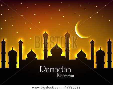 View of mosque in shiny moonlight night background for holy month of Ramadan Kareem.