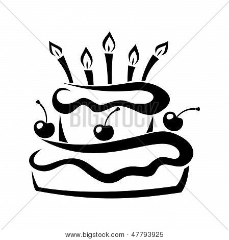 Black silhouette of birthday cake. Vector illustration.