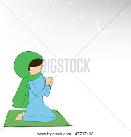 Muslim girl in traditional dress praying (Namaz, Islamic Prayer) on abstract grey background.