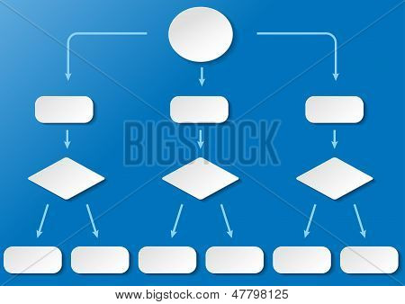 Flussdiagramm Breit Blue Background