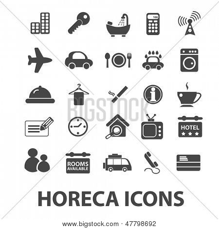horeca: hotel, restaurant, cafe icons, signs set, vector