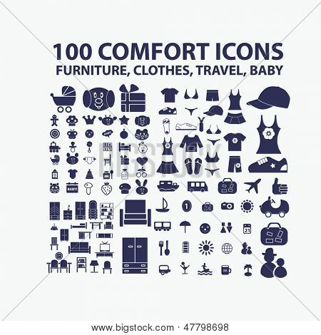100 comfort icons: furniture, clothes, travel, baby icons, signs set, vector