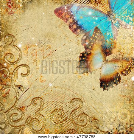 golden retro background with butterflies