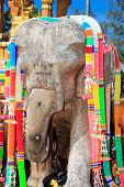 image of mahabharata  - Wooden elephant at the temple in Thailsnd - JPG