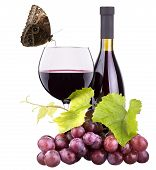 Ripe Grapes, Wine Glass And Bottle Of Wine
