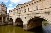 stock photo of avon  - Pulteney Bridge on the River Avon in Bath - JPG