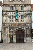 Jesus Christ statue over the city entrance of Canterbury Cathedral in England