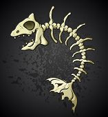 stock photo of eye-sockets  - A cartoon of the skeleton of a dead fish bones on a dark splattered background - JPG