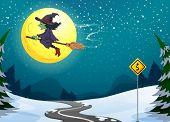 Постер, плакат: Иллюстрация плавающей с ее метле ведьма