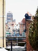 Old Town Of Gdansk And The Crane