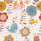 pic of animal x-ray  - Cute floral seamless pattern with sea animals - JPG