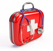 stock photo of emergency treatment  - Stethoscope and First Aid Kit - JPG