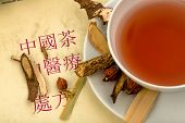 ingredients for a tea in traditional chinese medicine. healing of diseases through alternative metho