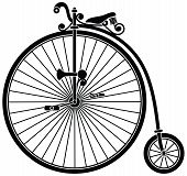 stock photo of penny-farthing  - Penny farthing big wheel bicycle silhouette isolated on white - JPG