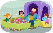 stock photo of pool ball  - Illustration of Stickman Kids Playing in an Inflatable Ball Pit - JPG