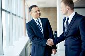 stock photo of congrats  - Portrait of elegant businessmen handshaking in conference hall - JPG