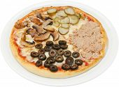 Pizza quattro stagioni with cheese tuna mushrooms and ham