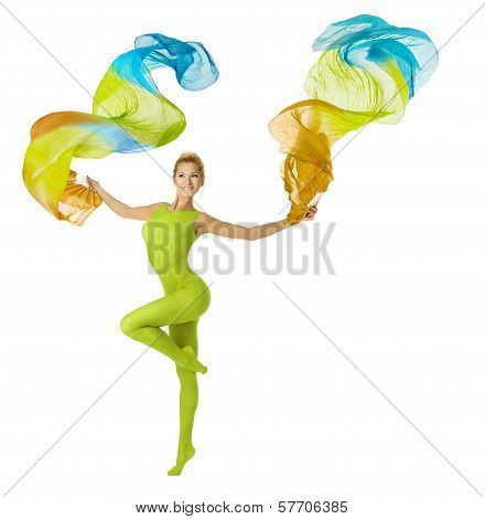 Woman Dancing With Flying Colorful Fabric
