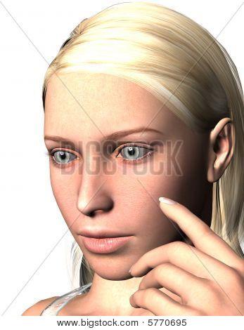 Sad Moody Blonde Woman