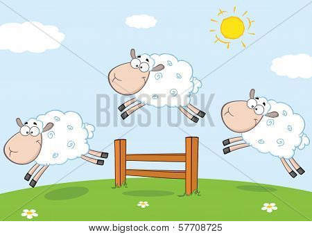 Three Cartoon Jumping Over A Fence