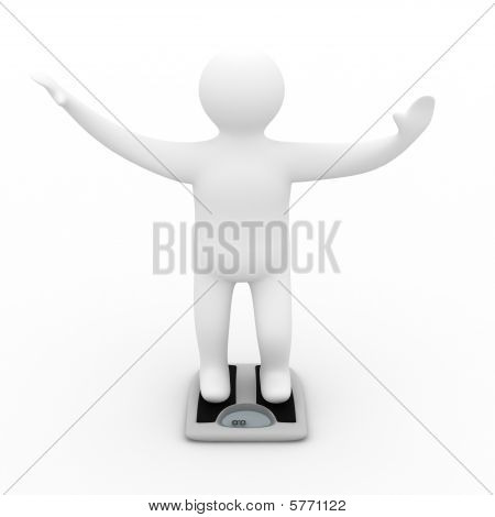 Floor Scales On  White Background. Isolated 3D Image