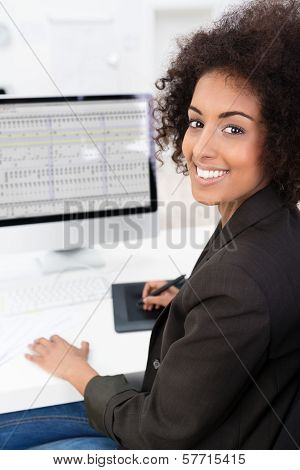Businesswoman Doing A Spreadsheet