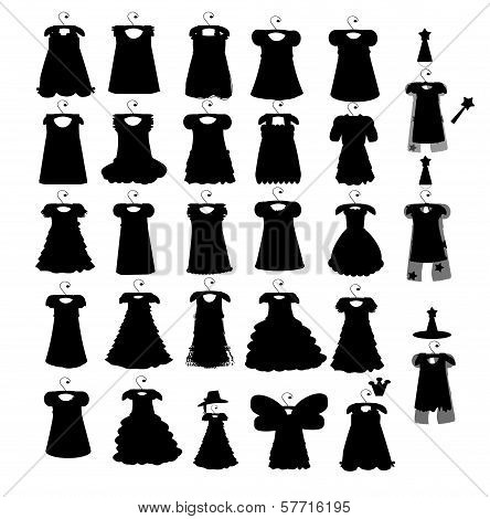 Set of dresses silhouette iseamless pattern
