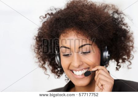 Friendly African American Call Centre Operator