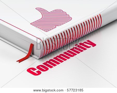 Social network concept: book Thumb Up, Community on white background