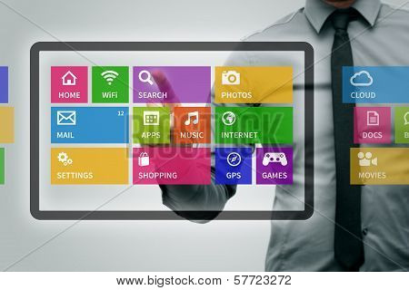 Virtual Digital Tablet With Colorful App Icons