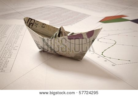 Dollar Paper Boat On Financial Data