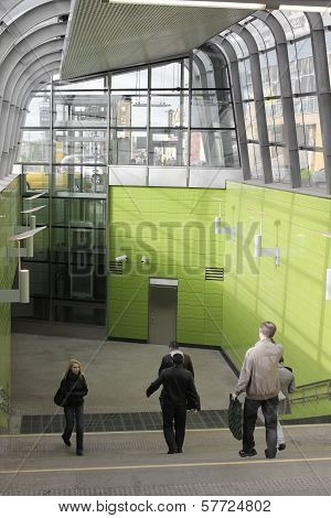 Entrance vestibule of new built underground station