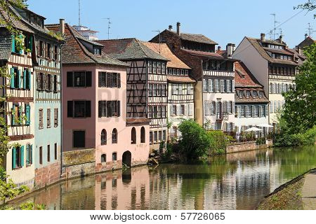 Beautiful Old Houses In Downtown Strasbourg, France