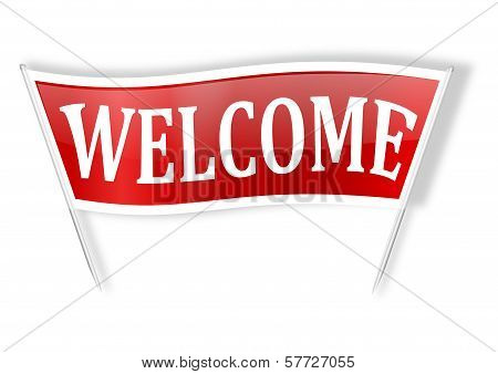 Red banner with the words welcome
