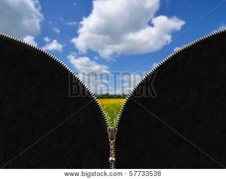 Zipper And Rural Spring Landscape